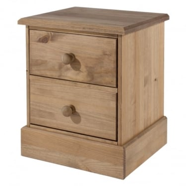 Core Products Cotswold Antique Wax Pine 2 Drawer Bedside Cabinet (CT310)