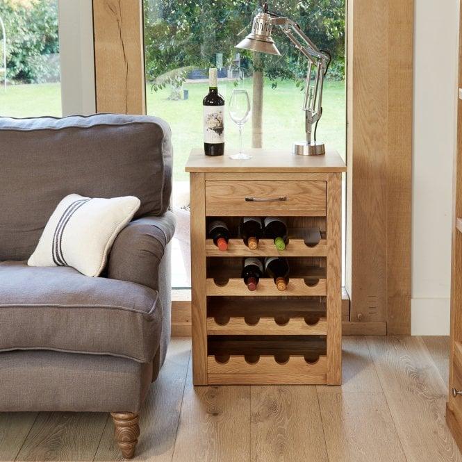 Crawford 1 Drawer Wine Cabinet, Oak
