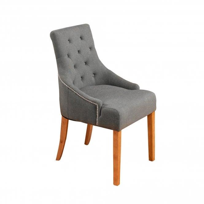 Crawford Accent Chair Set Of 2, Slate Grey Linen & Oak