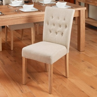 Crawford Dining Chair Set Of 2, Biscuit Linen & Oak