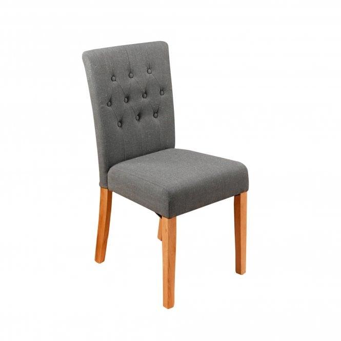 Crawford Dining Chair Set Of 2, Slate Grey Linen & Oak