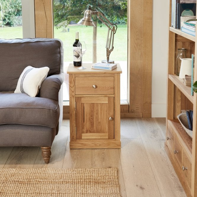 Crawford Rectangular 1 Door 1 Drawer Lamp Table, Oak