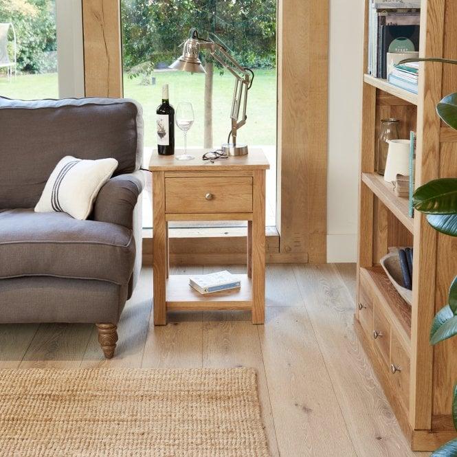 Crawford Rectangular 1 Drawer Lamp Table, Oak