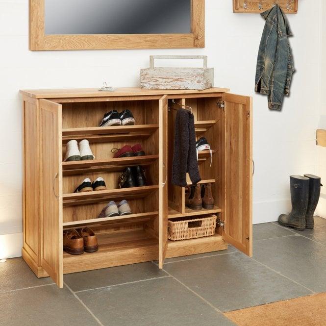 Crawford Rectangular 2 Door Shoe Cabinet, Oak