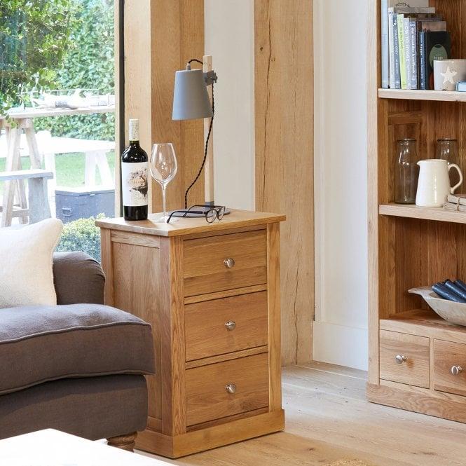 Crawford Rectangular 3 Drawer Lamp Table, Oak