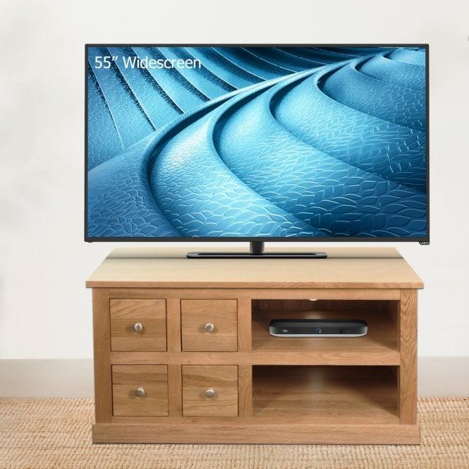 Crawford Rectangular 4 Drawer TV Unit, Oak