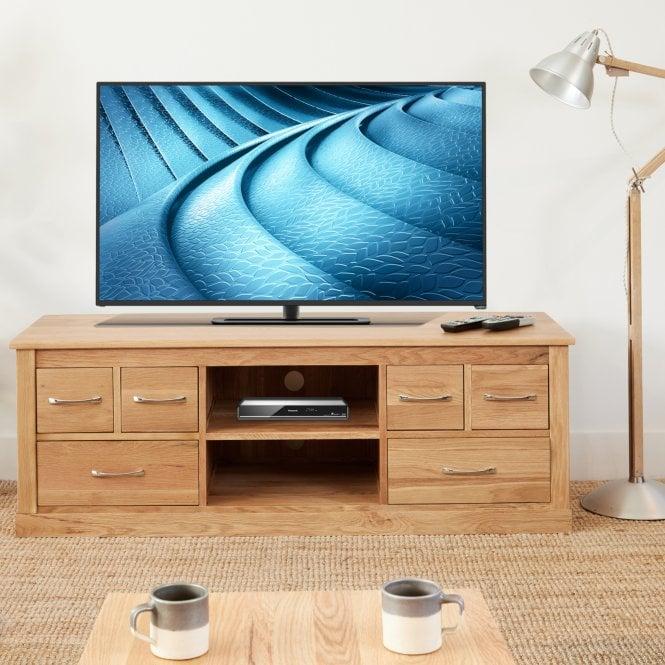 Crawford Rectangular 6 Drawer TV Unit, Oak