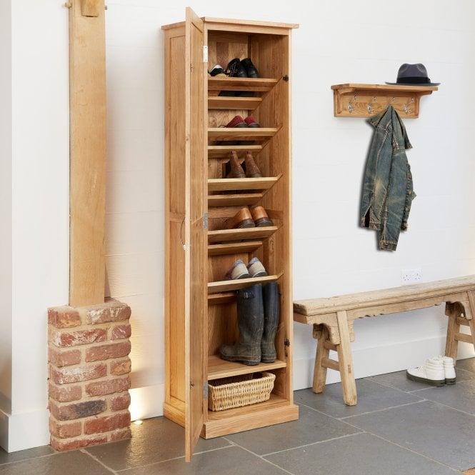 Crawford Tall 1 Door Shoe Cabinet, Oak