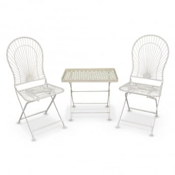 Richmond Garden Crossover Matt Cream & Antique Ivory 2 Piece Folding Patio Coffee Set