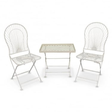 Crossover Matt Cream & Antique Ivory 2 Piece Folding Patio Coffee Set