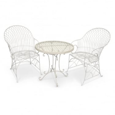 Crossover Matt Cream & Antique Ivory 3 Piece Armchair Patio Set