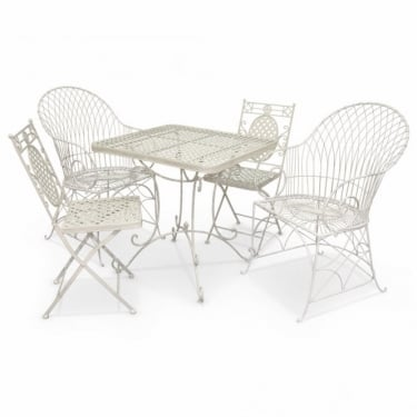 Crossover Matt Cream & Antique Ivory 4 Seat Patio Dining Set