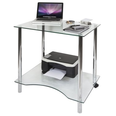 Crystal Clear Glass Workstation with Chrome Frame