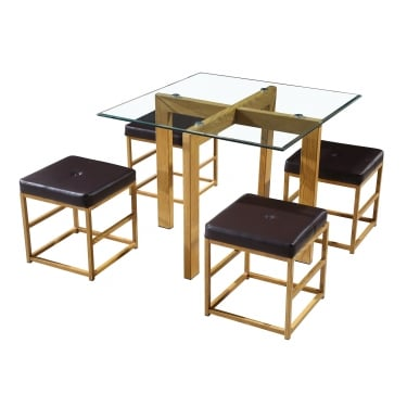 Cube Dining Set, Brown & Oak