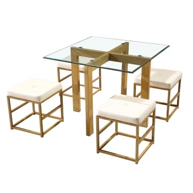 Cube Dining Set, Cream & Oak