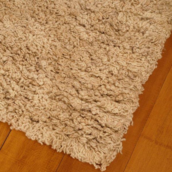 Real Rug Curly White Wool Rectangular Shaggy Rug