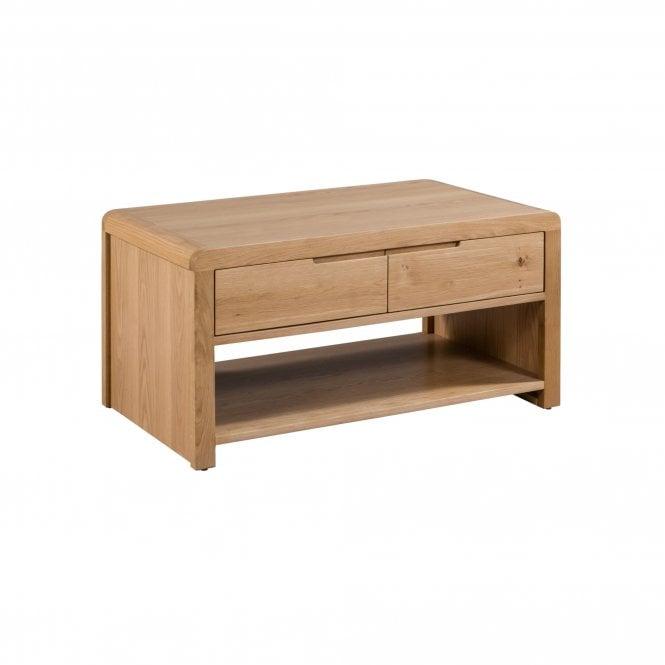 Curve Rectangular 1 Drawer Coffee Table, Oak