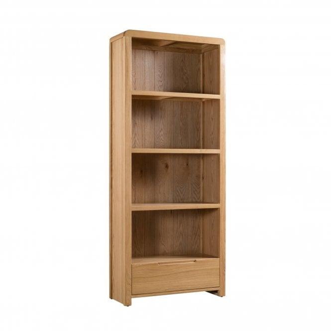 Curve Tall 1 Drawer Bookcase, Oak