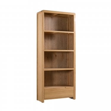 Curve Tall 1 Drawer Bookcase, Oak