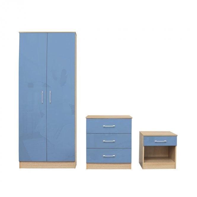 Dakota Bedroom Set, Blue & Oak