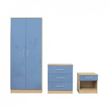 Dakota Blue High Gloss Bedroom Set