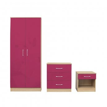 LPD Furniture Dakota Pink High Gloss Bedroom Set