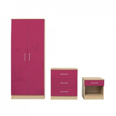Dakota Pink High Gloss Bedroom Set