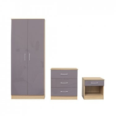 Dakota Taupe Grey High Gloss Bedroom Set