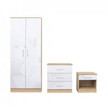 Dakota White High Gloss Bedroom Set