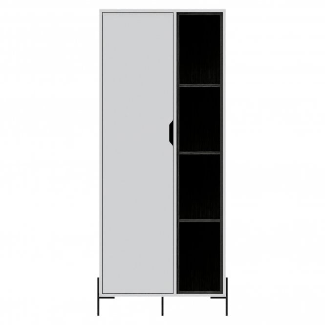 Dallas 1 Door Bookcase, White & Carbon Grey Oak Effect