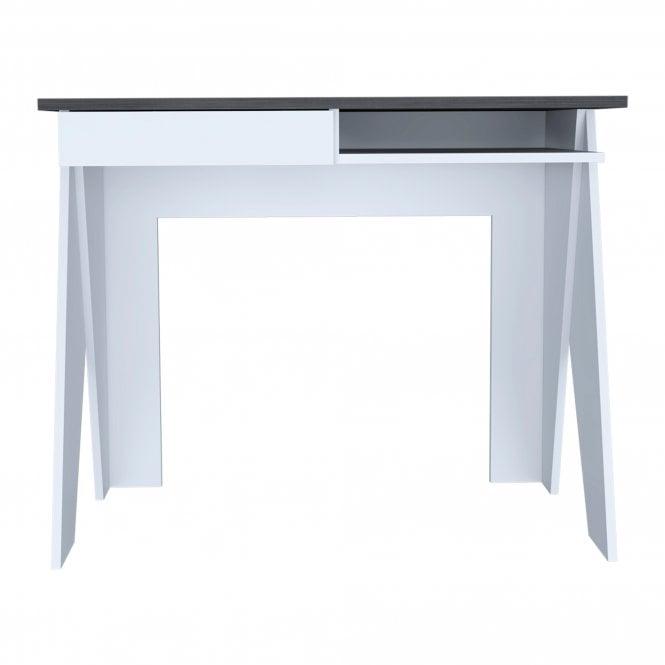Dallas 1 Drawer Study Desk, White & Carbon Grey Oak Effect