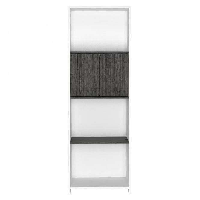 Dallas 2 Door Bookcase, White & Carbon Grey Oak Effect