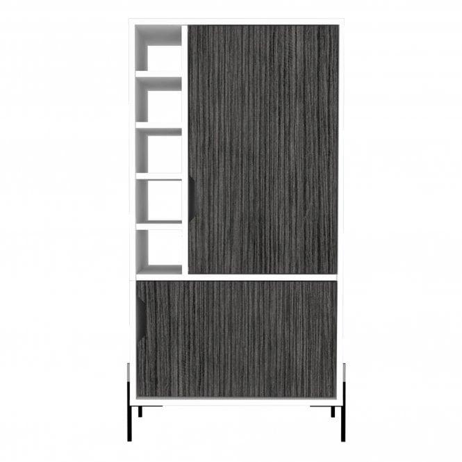 Dallas 2 Door Drinks & Storage Bar, White & Carbon Grey Oak Effect