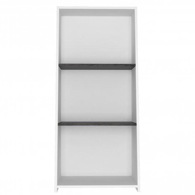 Dallas Low Bookcase, White & Carbon Grey Oak Effect
