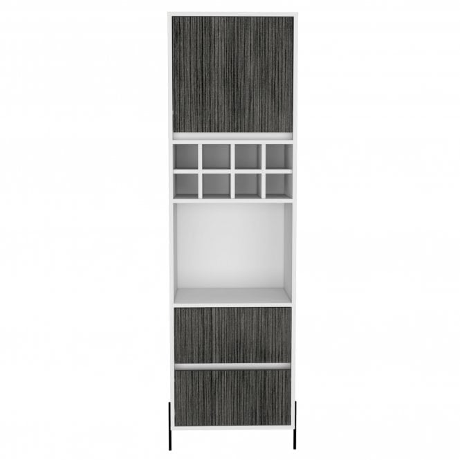 Dallas Tall 1 Door 2 Drawer Bar Cabinet, White & Carbon Grey Oak Effect