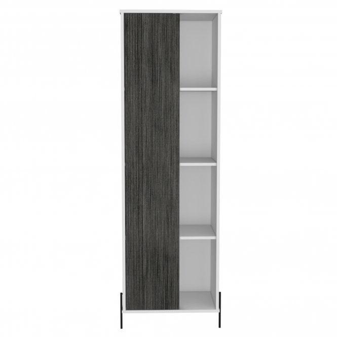 Dallas Tall 1 Door Display Cabinet, White & Carbon Grey Oak Effect