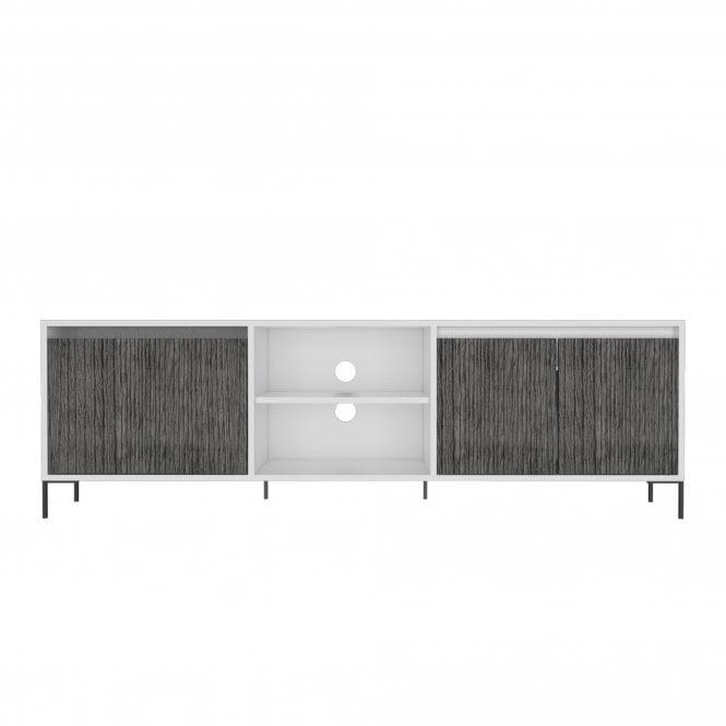 Dallas Wide 2 Door 1 Drawer TV Unit, White & Carbon Grey Oak Effect