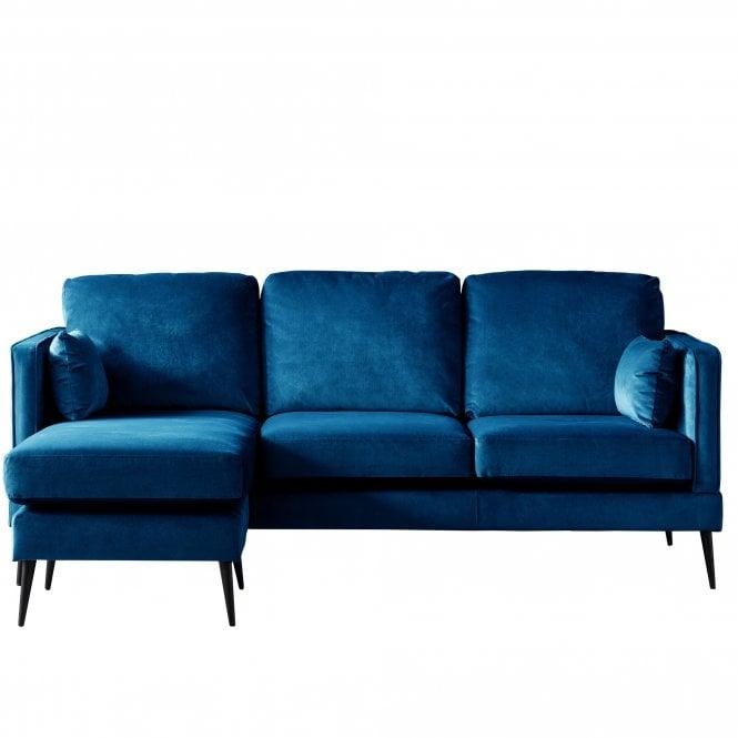 Darwin Left Handed Chaise Longue Sofa, Malta Navy Velvet