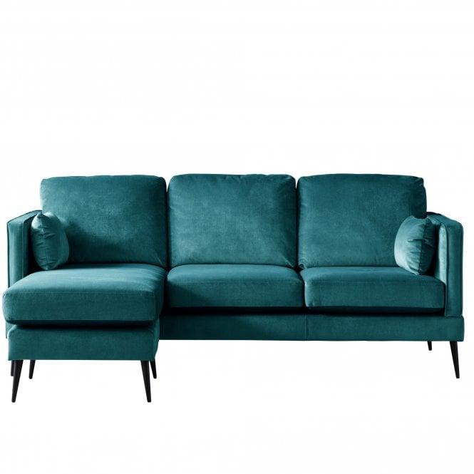 Darwin Left Handed Chaise Longue Sofa, Malta Peacock Velvet