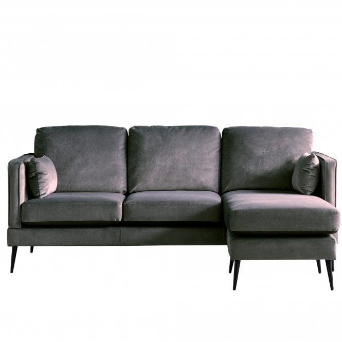 Darwin Right Handed Chaise Longue Sofa, Malta Cosmic Velvet