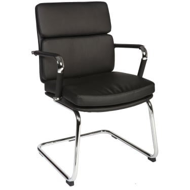 Teknik Deco Retro Black Visitor Chair with Chrome Base (1101BLK)