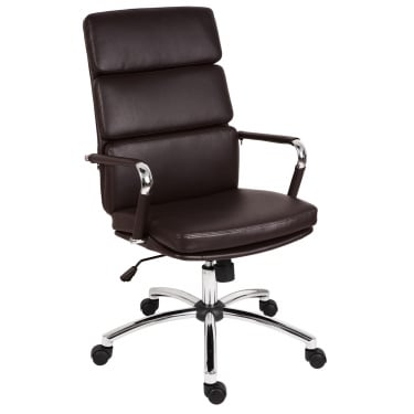 Deco Retro Brown Executive Chair with Chrome Base
