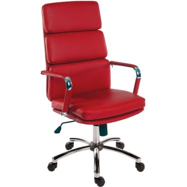 Deco Retro Red Executive Chair with Chrome Base