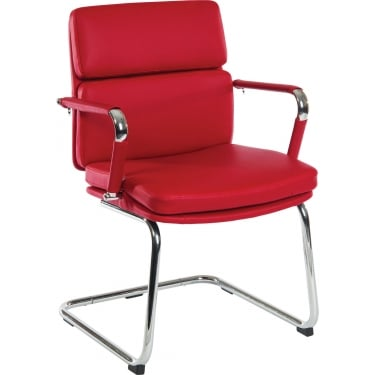 Deco Retro Red Visitor Chair with Chrome Base