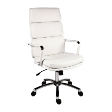 Deco Retro White Executive Chair with Chrome Base