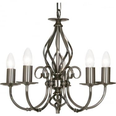 Oaks Lighting Decorative Tuscany Antique Silver 5 Light Ceiling Light
