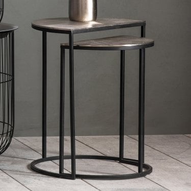 Delfin Nesting Tables, Antique Silver