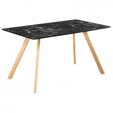 Delilah Dining Table, Black & Marble