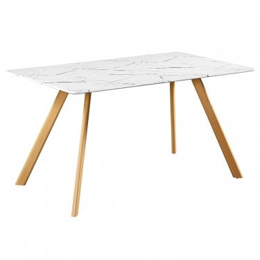 Delilah Dining Table, White & Marble