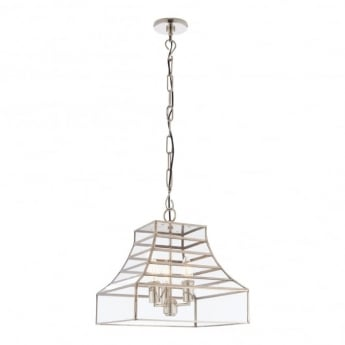 Endon Lighting Dempsey 3Lt Polished Stainless Steel & Clear Glass 40W Multi-Arm Pendant Light (73127)
